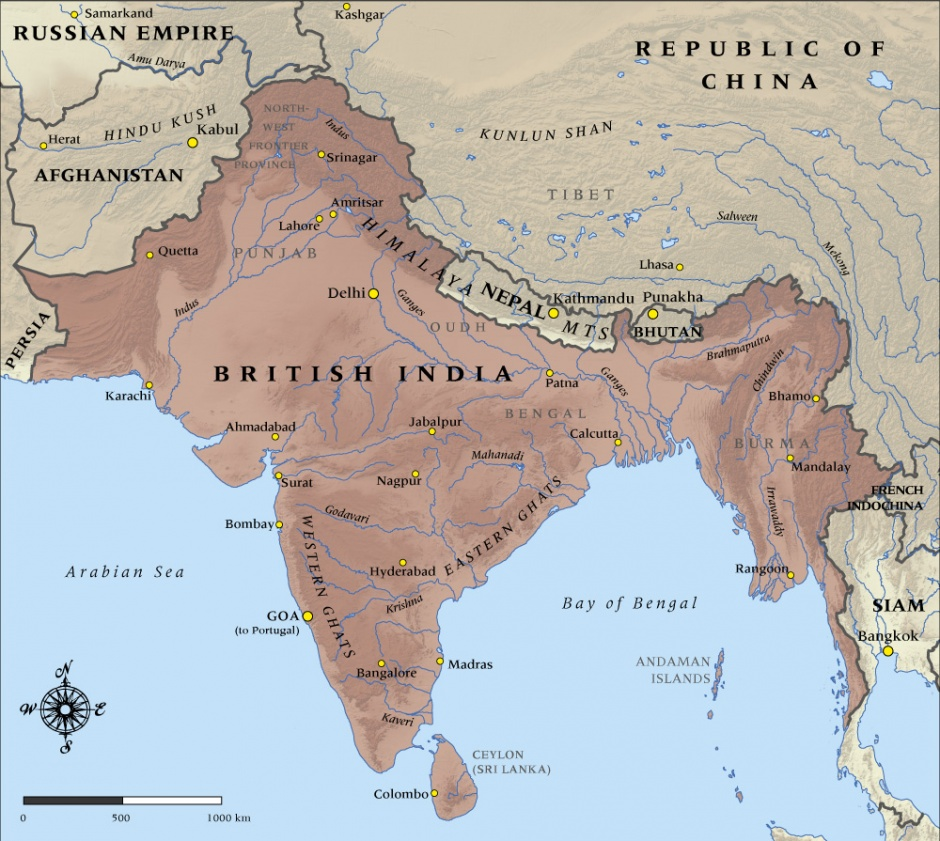 Map showing India pre-1947 Partition. The area includes modern-day Pakistan, Bangladesh and Kashmir.