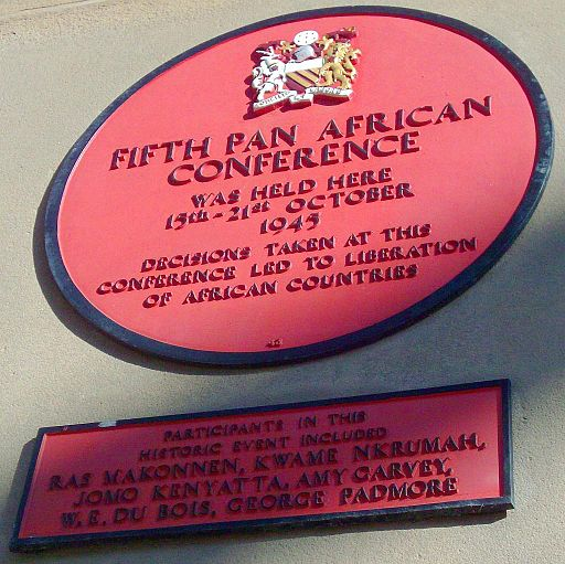 A plaque commemorating the Fifth Pan African Conference/Congress held in Manchester in 1945