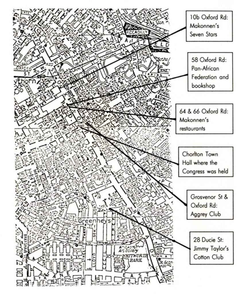 Map showing Important sites for the Black Community in Manchester, 1945