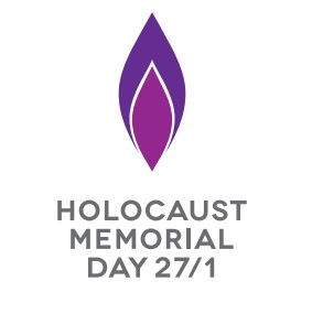 Purple candle flame. Text reads Holocaust Memorial Day 27 1