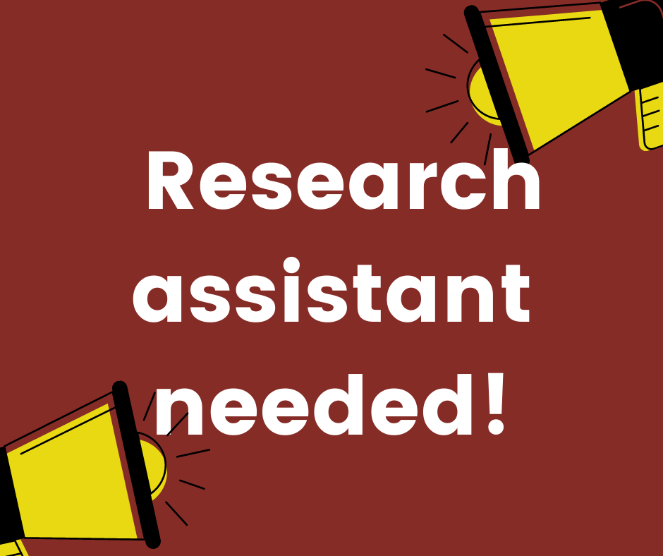 White text reading 'Research Assistant Needed' on brown background with yellow megaphones