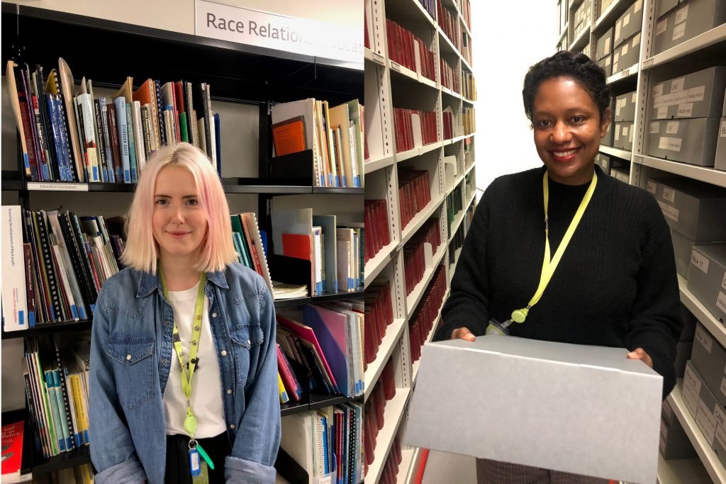 Annie in Library and Lianne in archive