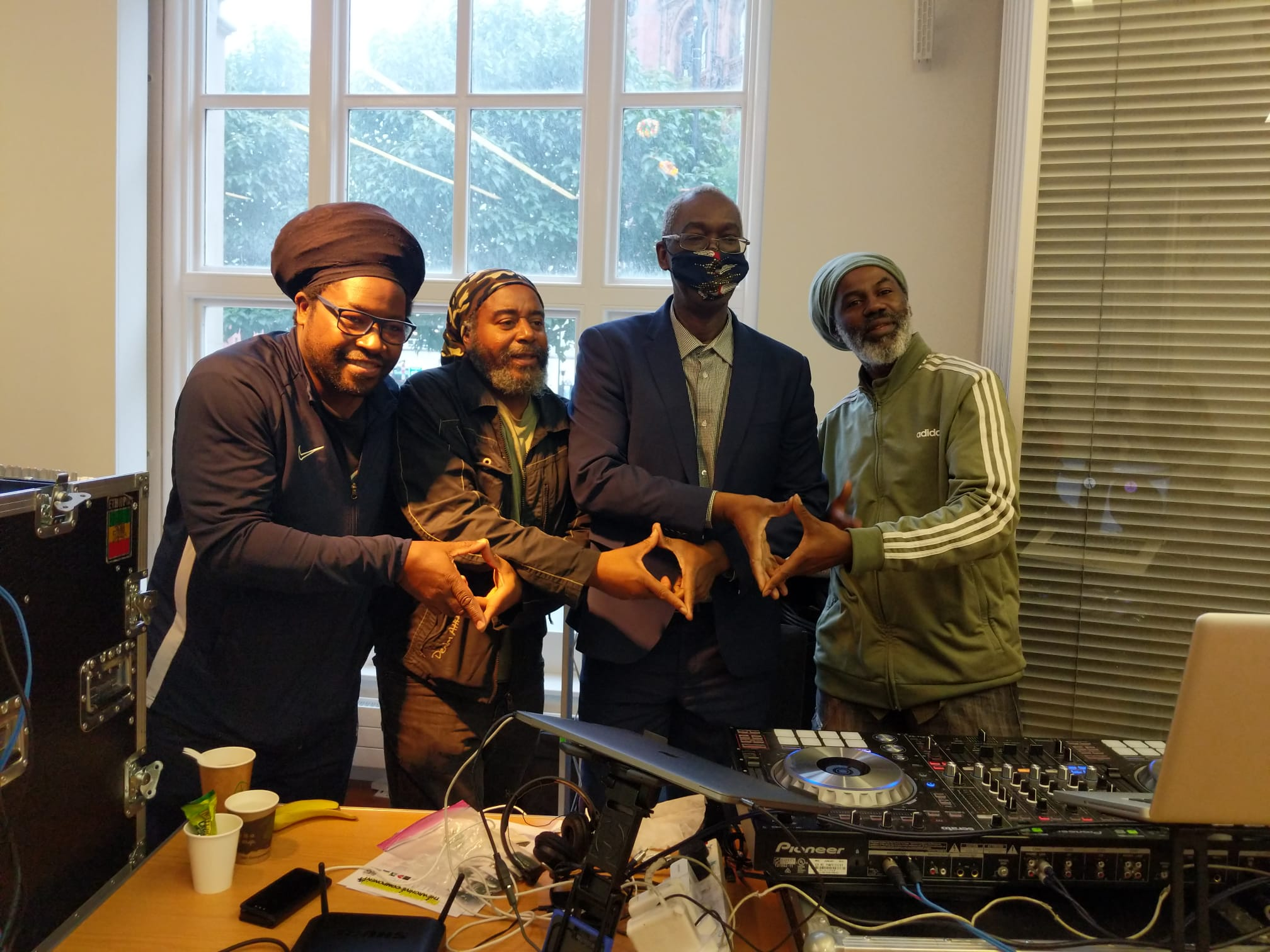 Tony Reeves from First Cut Media with members of Megatone Sound Foundation